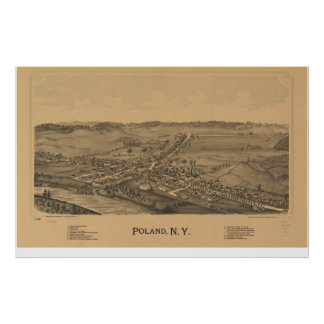 Poland New York 1890 Antique Panoramic Map Poster