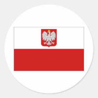 Poland State Flag amd Civil Ensign Classic Round Sticker