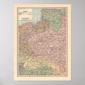 Poland Vintage 1923 Map print