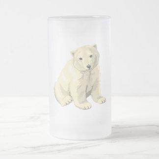 Polar Bear 16 Oz Frosted Glass Beer Mug