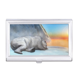Polar bear - 3D render Business Card Holder