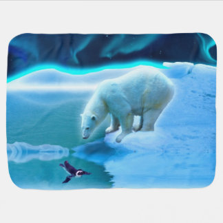 Polar Bear and Baby Penguin Friendship Art Baby Blanket