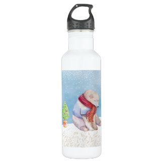Polar Bear and Christmas Tree in the Snow 710 Ml Water Bottle