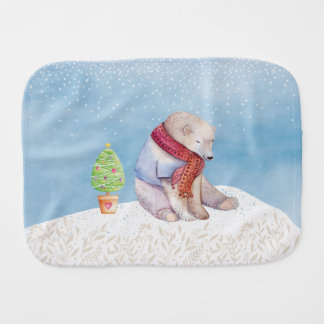 Polar Bear and Christmas Tree in the Snow Burp Cloth