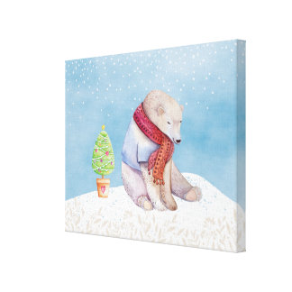 Polar Bear and Christmas Tree in the Snow Canvas Print