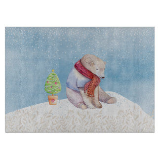 Polar Bear and Christmas Tree in the Snow Cutting Board