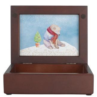 Polar Bear and Christmas Tree in the Snow Keepsake Box