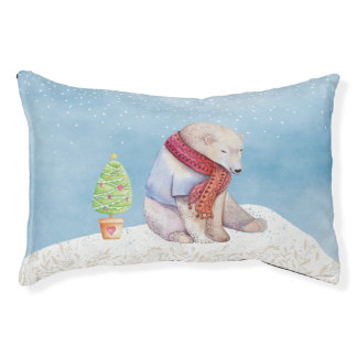 Polar Bear and Christmas Tree in the Snow Pet Bed