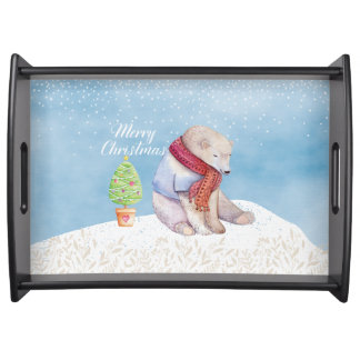 Polar Bear and Christmas Tree in the Snow Serving Tray