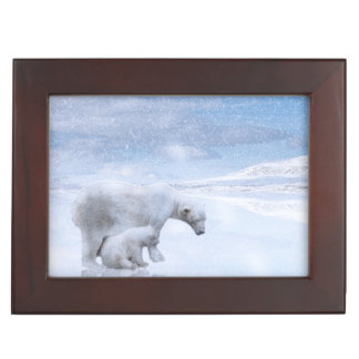 Polar bear and cub keepsake box