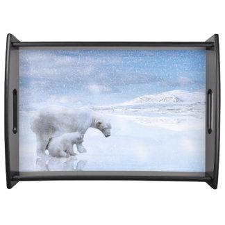 Polar bear and cub serving tray