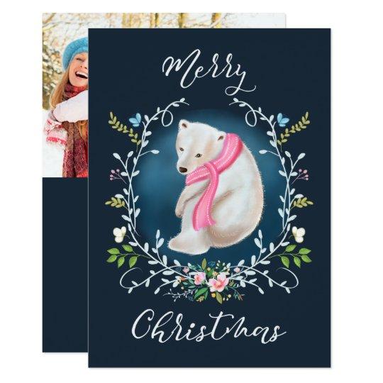 Polar Bear and Floral Wreath Photo Christmas Card