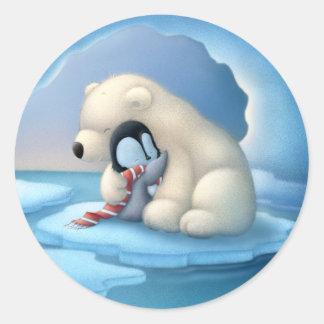 Polar bear and penguin classic round sticker
