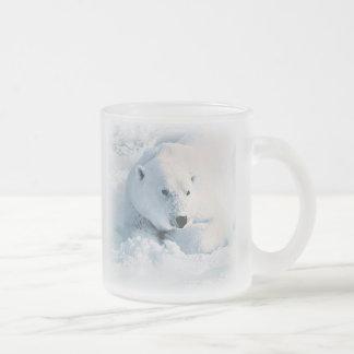 Polar Bear and Snow Frosted Glass Mug
