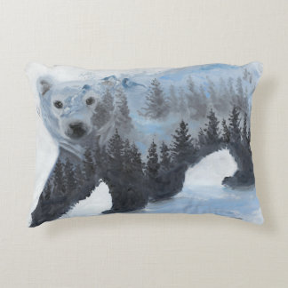 Polar Bear and the Forest Decorative Pillow