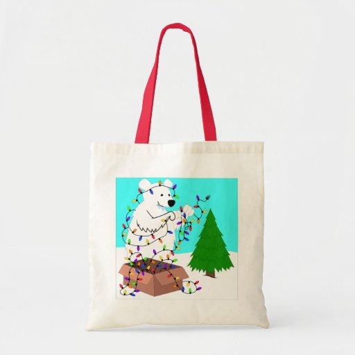 Polar Bear and Tree Lights Tote Bags