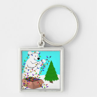 Polar Bear and Tree Lights Keychain
