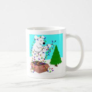 Polar Bear and Tree Lights Coffee Mug
