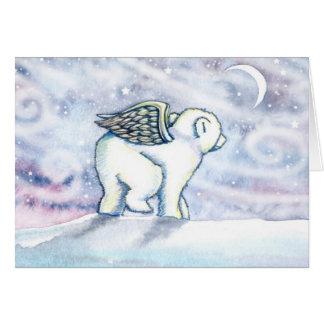 Polar Bear Angel Christmas Card