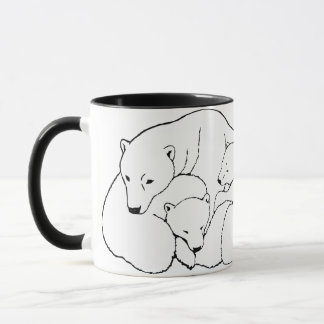 Polar Bear Art Coffee Mug Mother & Cubs Bear Cup
