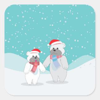 polar bear B Square Sticker