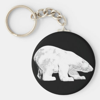 Polar Bear, Black Background (6) Keychain