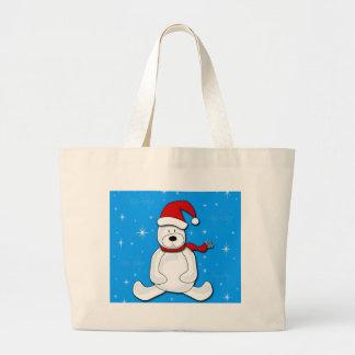 Polar bear - blue large tote bag