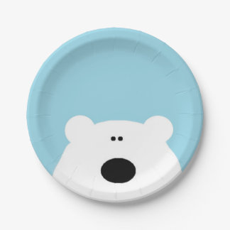 Polar Bear Blue Paper Plate