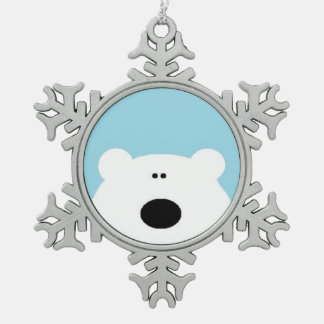 Polar Bear Blue Snowflake Pewter Christmas Ornament