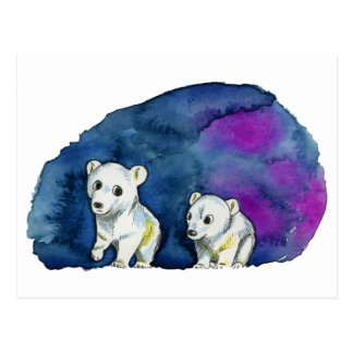 Polar Bear Brothers Watercolor Painting Postcard