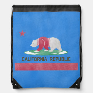 Polar Bear California Republic Drawstring Bag