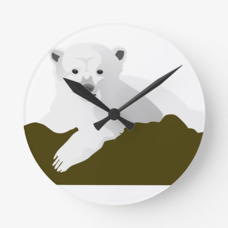 Polar Bear Cartoon Round Clock