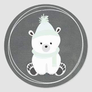 Polar Bear Chalkboard Inspired Baby Shower Classic Round Sticker