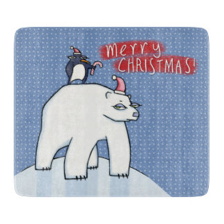 Polar Bear Christmas blue Glass Cutting Board