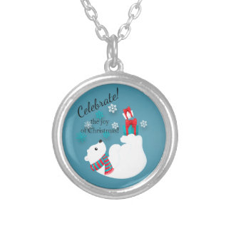 Polar Bear Christmas Gifts Joy Silver Plated Necklace