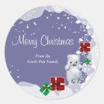 Polar bear christmas greeting elegant round sticker