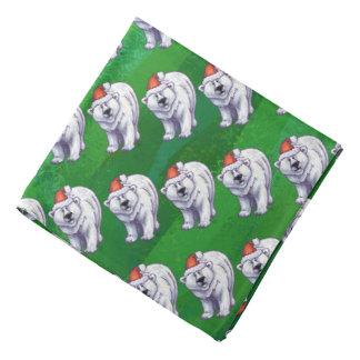 Polar Bear Christmas On Green Kerchief