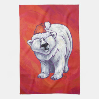 Polar Bear Christmas On Red Kitchen Towel