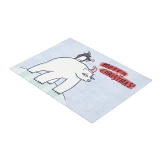 "Polar Bear Christmas snow 18"" x 24"" Door Mat"
