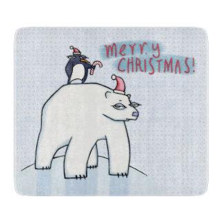 Polar Bear Christmas white Glass Cutting Board
