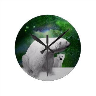 Polar Bear, cub and Northern Lights aurora Clock