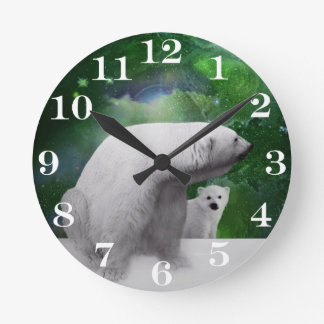 Polar Bear, cub and Northern Lights aurora Round Clock