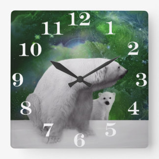 Polar Bear, cub and Northern Lights aurora Square Wall Clock