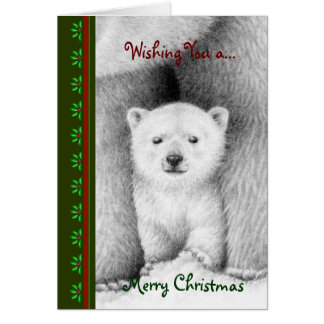 Polar Bear Cub Chrismas Card