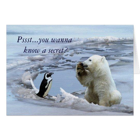 Polar Bear Cub & Penguin Best Friends Card