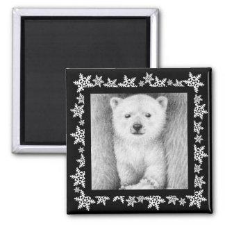 Polar Bear Cub Snowflake Christmas Magnet