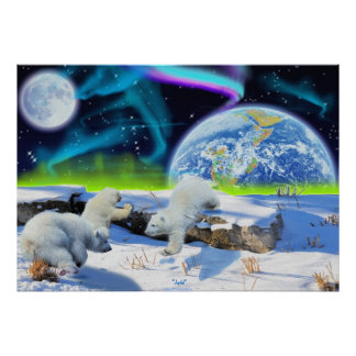 Polar Bear Cubs & Aurora Earth Day Fantasy Poster