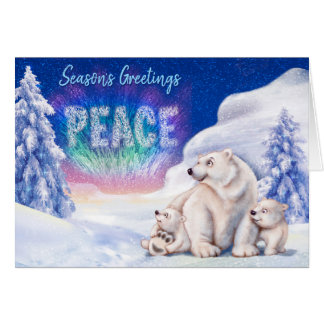 Polar bear & cubs cute christmas card