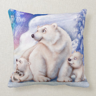 Polar bear & cubs cute cushion