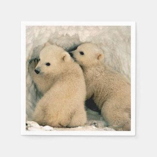 Polar Bear Cubs in the Snow Disposable Napkin